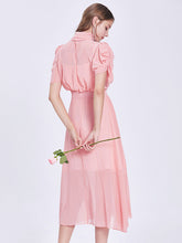 Load image into Gallery viewer, Puff Sleeve Chiffon Swing Dress With Belt