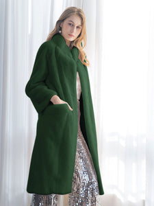 Soft Faux Fur Coat Women Long Sleeve Maxi Winter Coat With Pockets