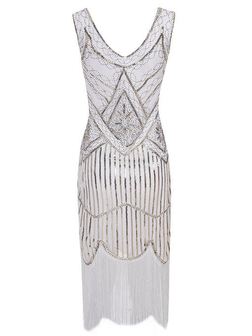 2 Colors 1920s V Neck Sequined Flapper Dress