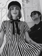 Load image into Gallery viewer, Beetlejuice Costume Pocket Dress With Black and White Vertical Stripe