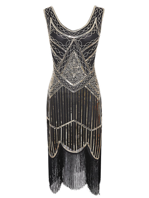 Black Gold 1920s V Neck Sequined Flapper Dress