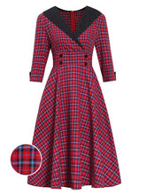 Load image into Gallery viewer, Christmas Grey 1950S 3/4 Sleeve Plaid Dress