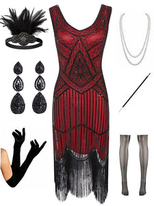 Sequined Fringed Flapper 20S Dress Set