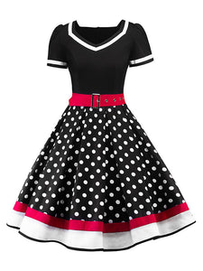 Sweet Heart Neck Polka Dots A Line Vintage Dress With Belt