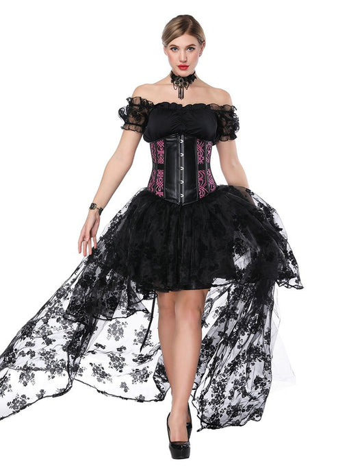 Gothic Costume Halloween Women  Lace  Top Corset And Asymmetrical Skirt