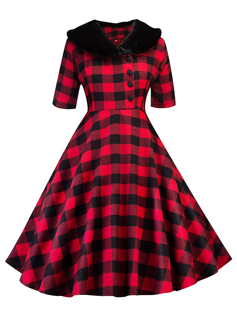 Elegant With Fur Collar Plaid Half Sleeve Vintage Dress