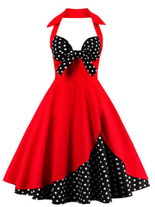 Halter Off Shoulder Dots Bow Retro Dress