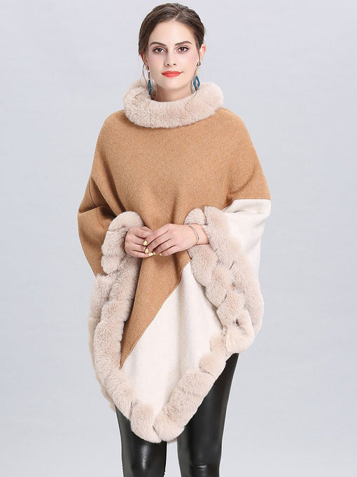 Faux Fur Coat Wool Cape Coat Hooded Long Sleeve Women Overcoat