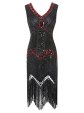 Load image into Gallery viewer, Red 1920s Sequined Flapper Dress