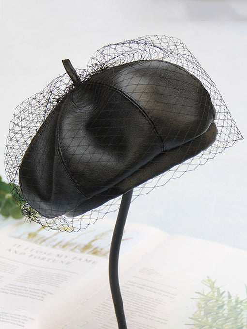 Black Faux Leather Beret Hat Cap With Veil