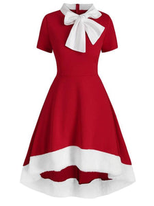 Christmas Bow Collar 1950S Swing Dress