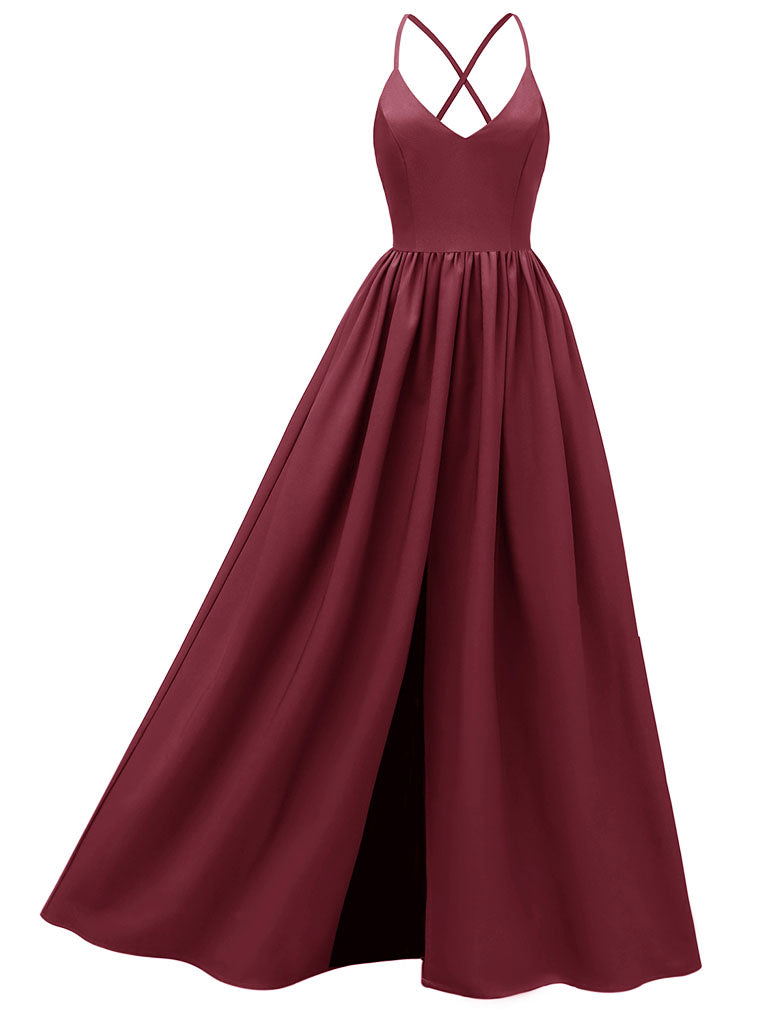 Sling Solid Color A line Satin Vintage Party Maxi Dress