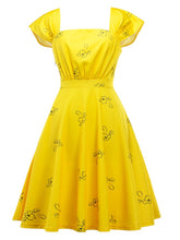 Load image into Gallery viewer, Yellow Sweet Cap Sleeve Printed Vintage Dress