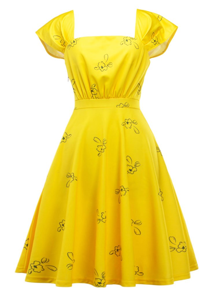 Yellow Sweet Cap Sleeve Printed Vintage Dress