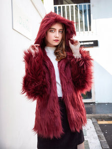Faux Fur Coat Women Hooded Long Sleeve Oversized Winter Coat