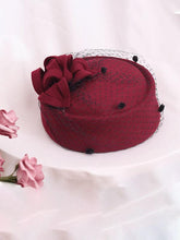 Load image into Gallery viewer, 100%Wool 1950S Pillbox Hat Tulle Mrs Masiel Same Style Hat