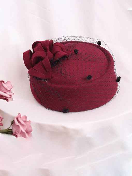100%Wool 1950S Pillbox Hat Tulle Mrs Masiel Same Style Hat
