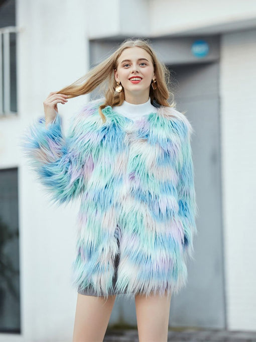 Faux Fur Coat Women Long Sleeve Ice-cream Winter Coat
