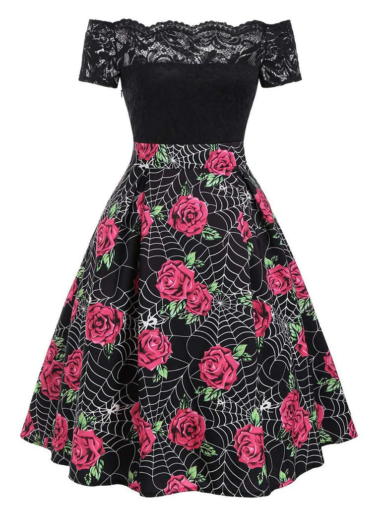 Black Halloween Dress Rose and Spider web Printed Off the Shoulder Dress