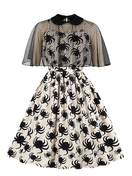 Halloween Spider Spaghetti Strap 1950S Vintage Dresses With cape