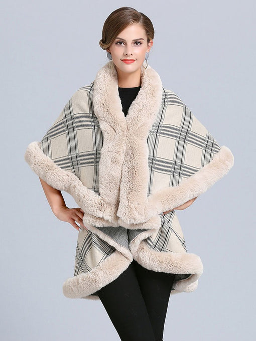 Women Poncho Wrap Faux Fur Collar Double Layer
