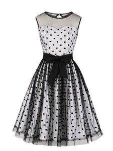Flock Dots 1950S Tulle Dress