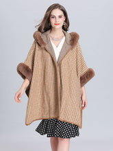 Load image into Gallery viewer, Faux Fur Coat Wool Cape Coat Hooded Long Sleeve Women Gingham Overcoat