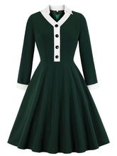 Load image into Gallery viewer, Dark Green Long Sleeve Skirt Collar 50s Dress