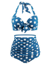 Load image into Gallery viewer, Retro Style Dots Solid Background Two Pieces Bikini Sets