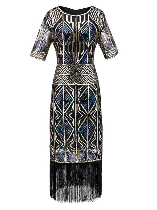 1920S Fringed Sequin Flapper Dress