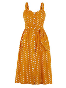Polka Dots  Maxi Dress Vintage Dress For Women With Pockets