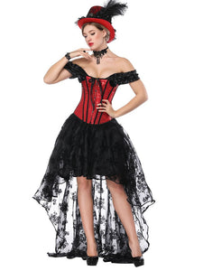 Gothic Costume Halloween Red Strapless Asymmetrical Skirt And Corset