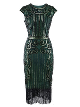 Load image into Gallery viewer, Green 1920s Crew Neck Sequined Flapper Dress