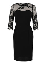 Load image into Gallery viewer, Black Lace Retro1960S Vintage Bodycon Dress