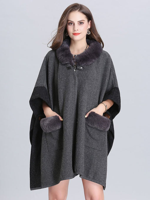 Faux Fur Coat Wool Cape Coat Half Sleeve Women 's Overcoat With Pockets