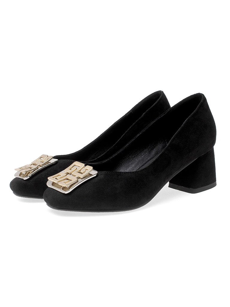 Chunky Heel  Square Toe Suede Vintage Shoes