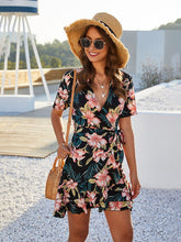 Load image into Gallery viewer, Women's Bohemian Dress Floral V Neck Short Sleeve Midi Dress