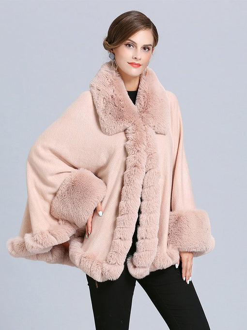 Women Poncho Sweater Faux Fur Coat Shawl Collar