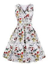 Load image into Gallery viewer,  V Neck Floral Print 1950s Vintage Dress