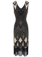 Load image into Gallery viewer, Red 1920s V Neck Sequined Flapper Dress
