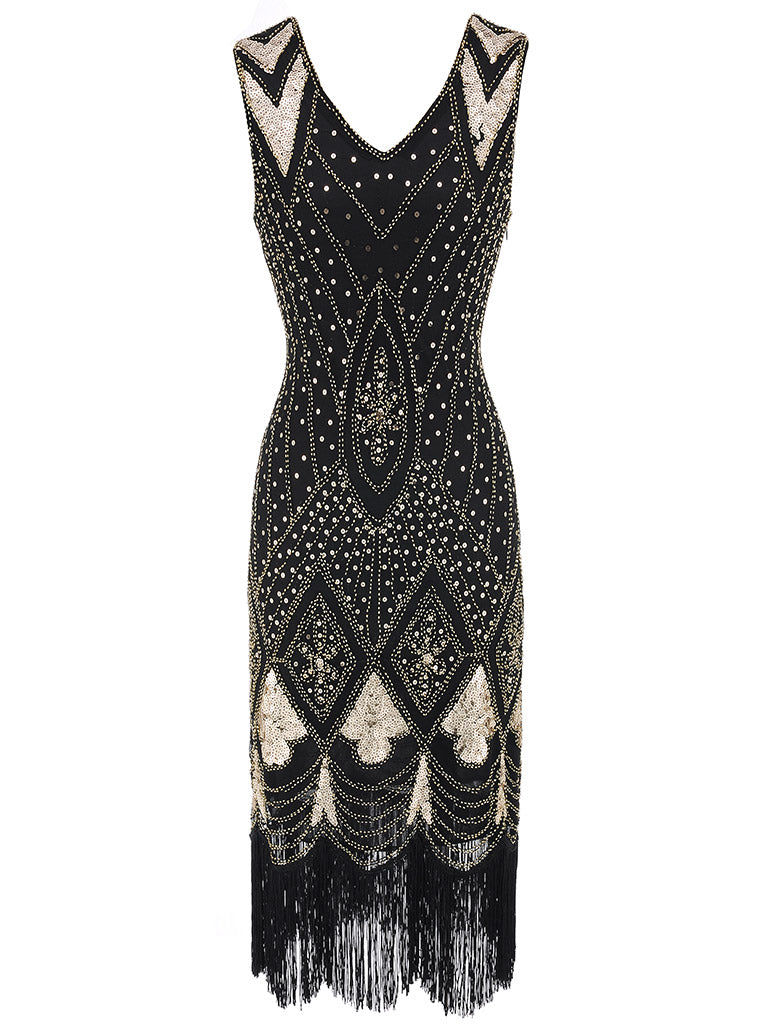 Red 1920s V Neck Sequined Flapper Dress
