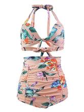Load image into Gallery viewer,  Pink Floral 3D Print Retro Style Bikinis swimsuits