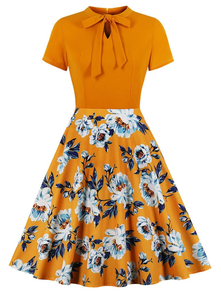 Orange Short Sleeve Floral 50s Dress