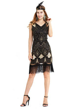 Load image into Gallery viewer, Black Gold 1920s V Neck Sequined Flapper Dres