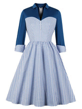 Load image into Gallery viewer, Blue Plaid Long Sleeve Shirt Collar 50s Dress