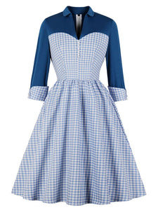 Blue Plaid Long Sleeve Shirt Collar 50s Dress