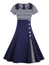 Load image into Gallery viewer, Elegant Stripe High Waist 50s 60s Dress