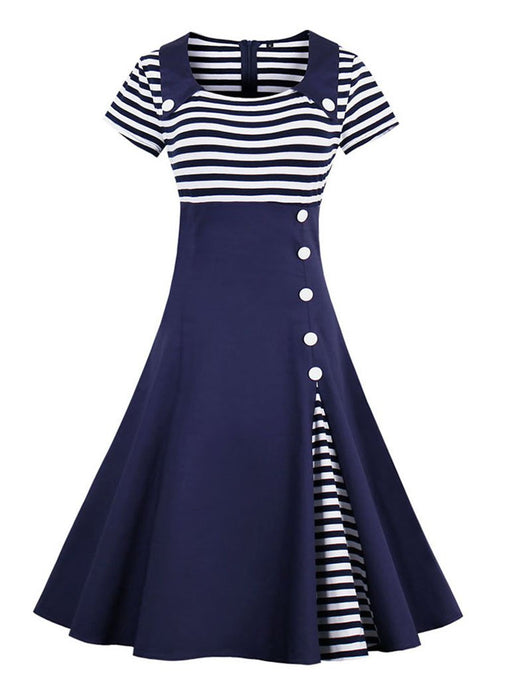Elegant Stripe High Waist 50s 60s Dress