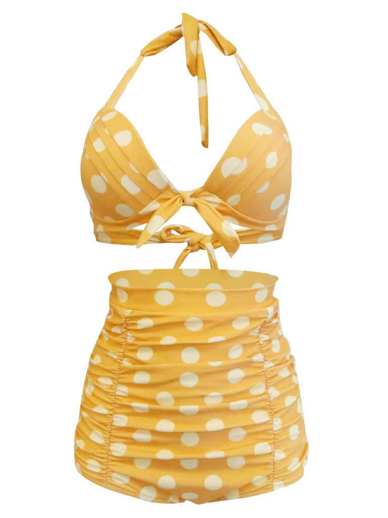 Retro Style High Waisted Elegant Backless Dots Two Pieces Swimsuit Sets