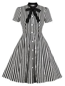 With Pocket Bow Stripe Black 50S Dress